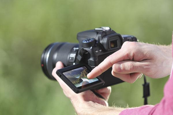 Zamontowany na przegubie duży, 3-calowy monitor zapewnia wygodę pracującym głównie ze statywu filmowcom i – oczywiście – kreatywnym fotografom. Do tego panel można obsługiwać dotykiem, co znakomicie ułatwia filmującym EOSem 70D zmianę ostrości poszczególnych planów, szczególnie podczas pracy w autofokusie ciągłym (Movie Servo AF). Na monitorze można też wyświetlić poziomnicę i histogram, a dostępny tu obraz podlega symulacji ekspozycji (na życzenie).