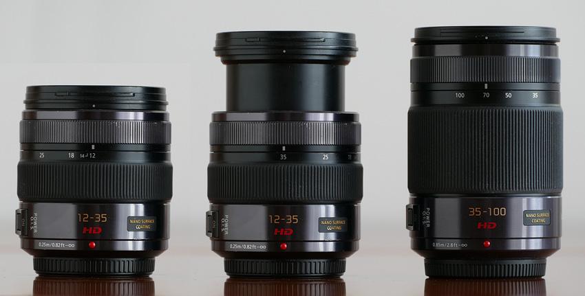 Zoom standardowy wysunięty  do 35 mm okazuje się niemal tak samo długi jak telezoom.