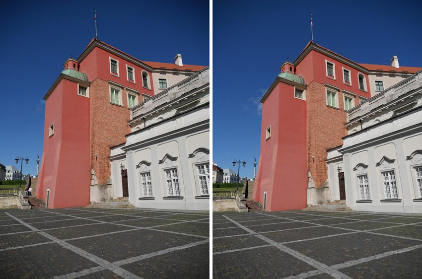Zoom 12-35 mm, otwarta przysłona, winietowanie zfunkcją jego redukcji wyłączoną (lewe zdjęcie) izwłączoną.
